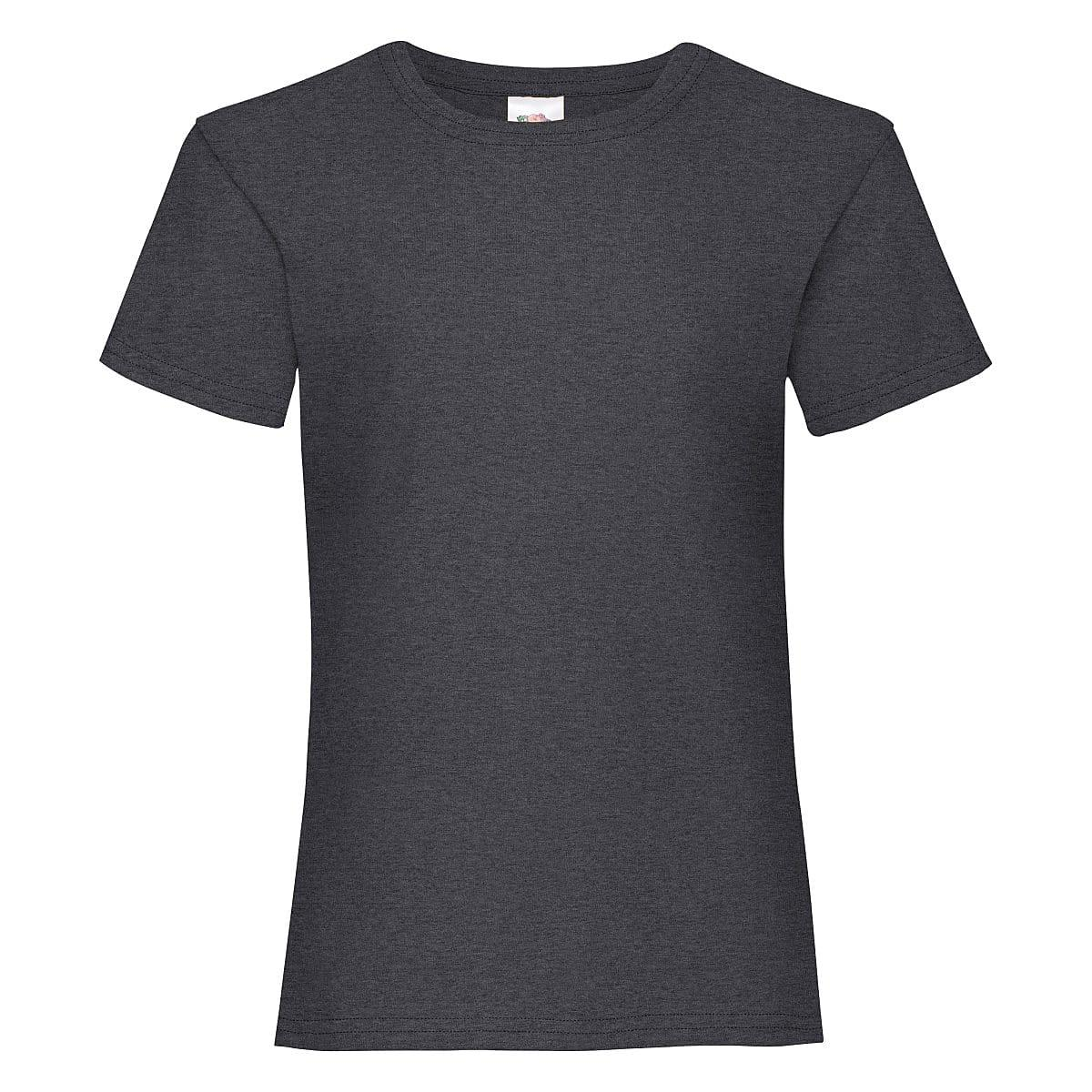 Fruit Of The Loom Girls Valueweight T-Shirt in Dark Heather (Product Code: 61005)