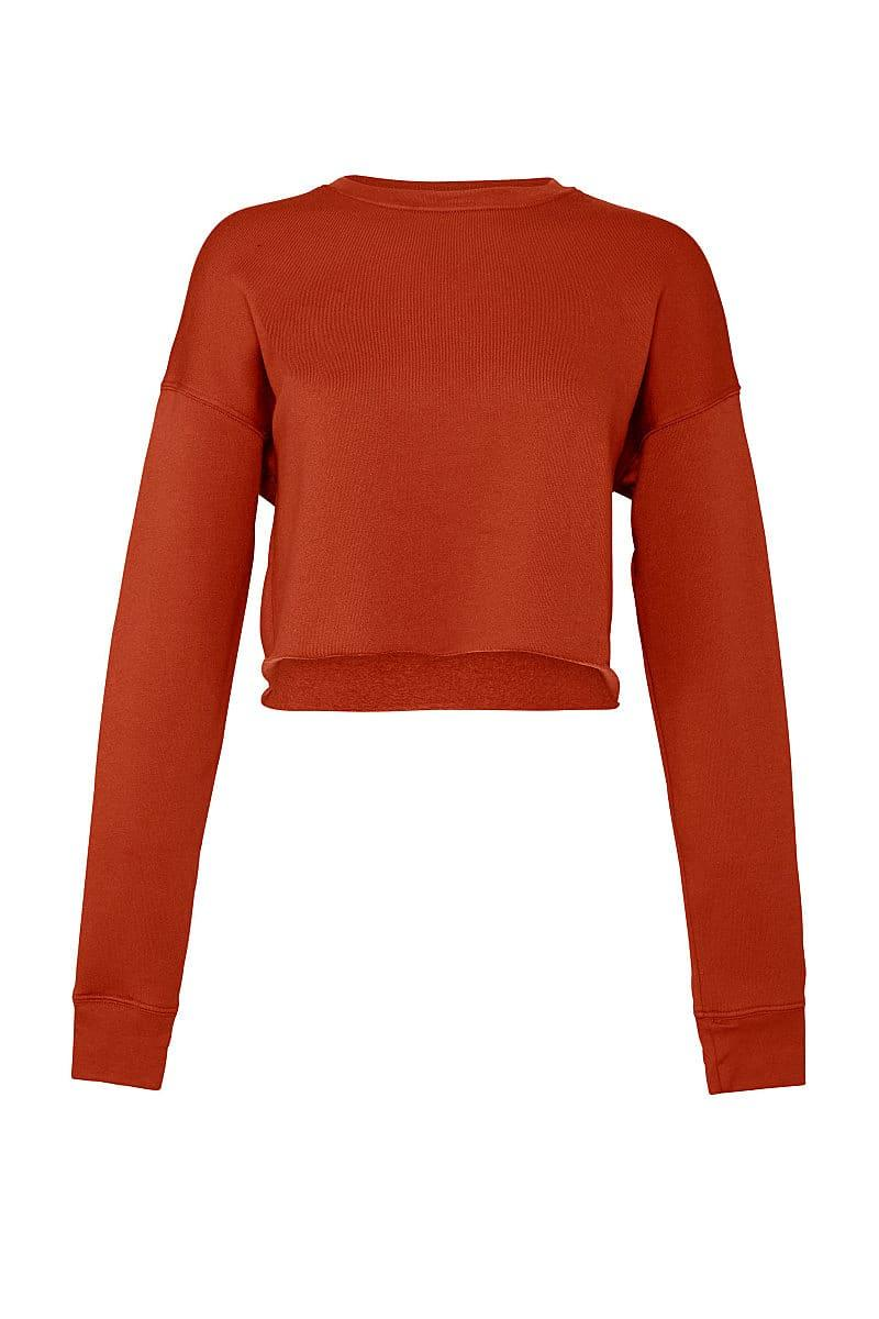 Bella+Canvas Womens Cropped Fleece Crew in Brick (Product Code: BE7503)