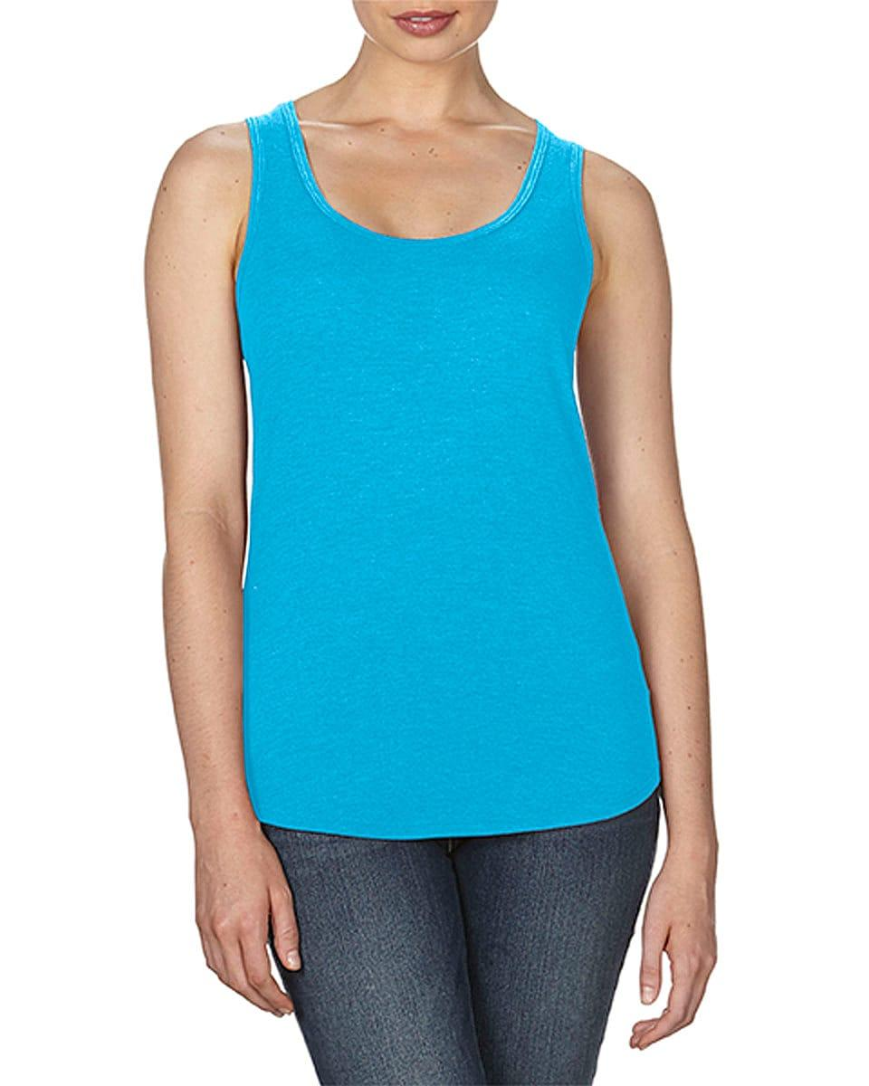 Anvil Womens Tri-Blend Racerback Tank in Heather Caribbean Blue (Product Code: 6751L)