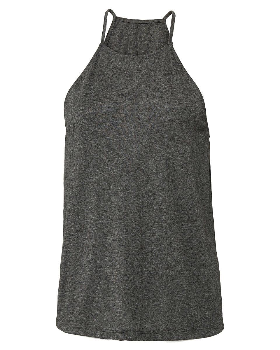 Bella Flowy High Neck Tank in Dark Grey Heather (Product Code: BE8809)