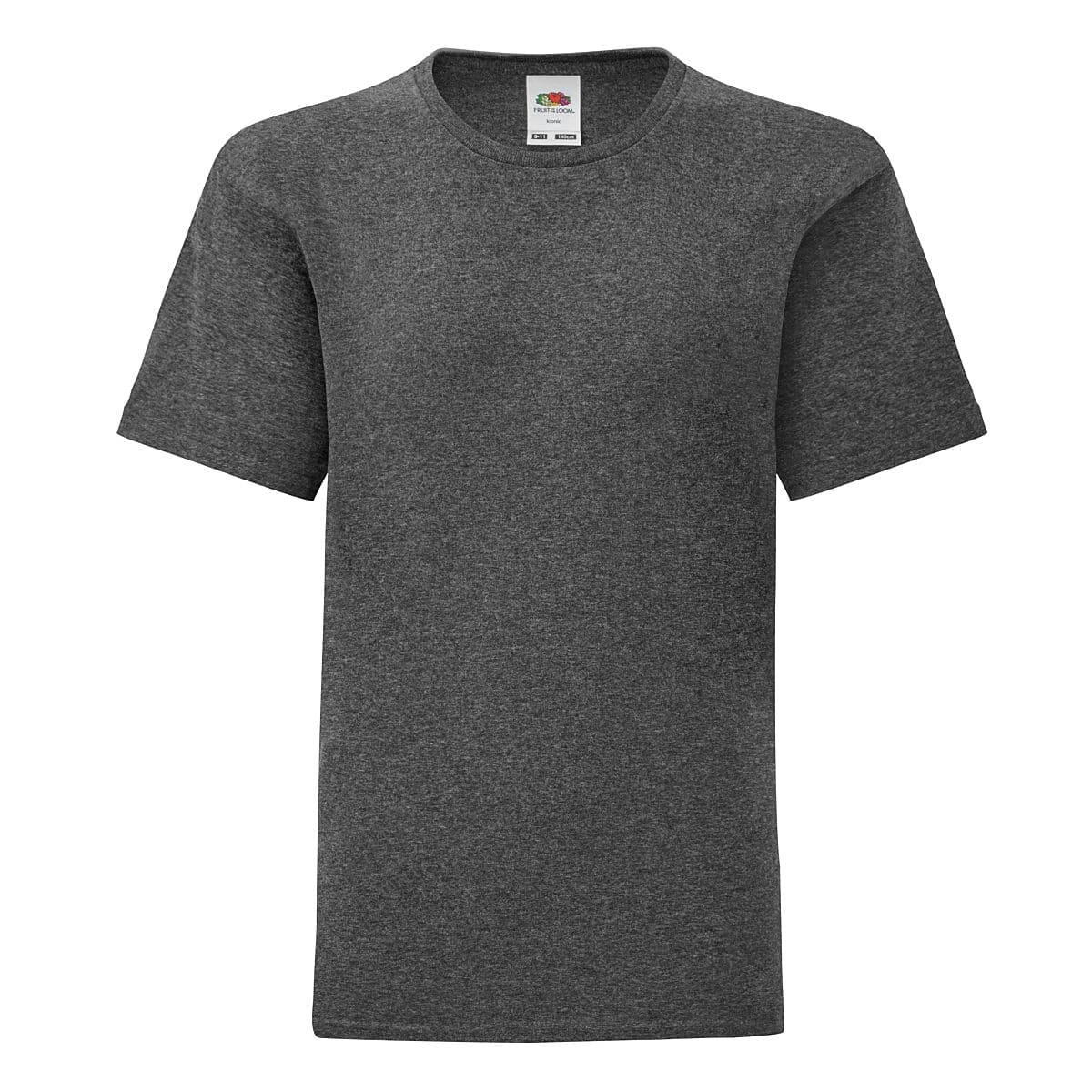 Fruit Of The Loom Kids Iconic T-Shirt in Dark Heather (Product Code: 61023)