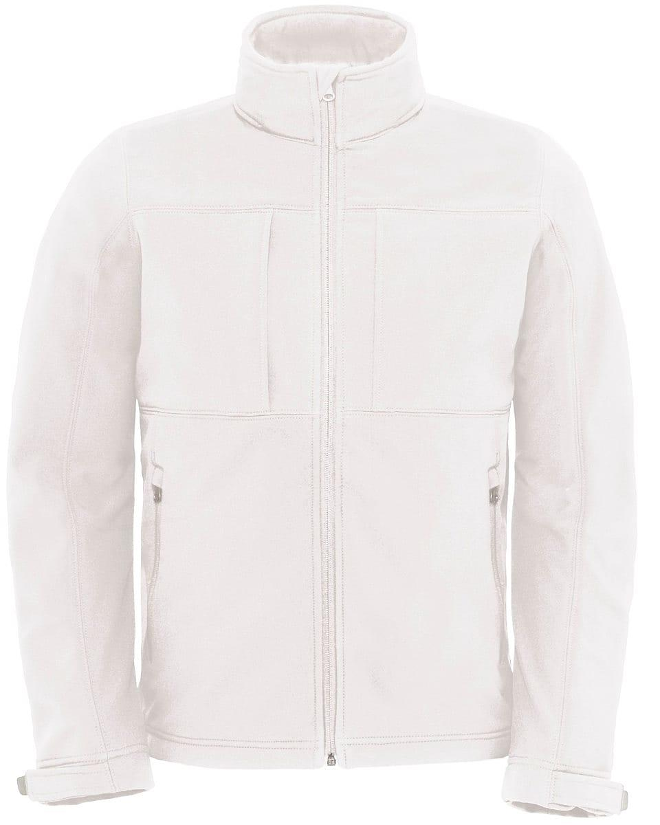 B&C Mens Hooded Softshell Jacket in White (Product Code: JM950)