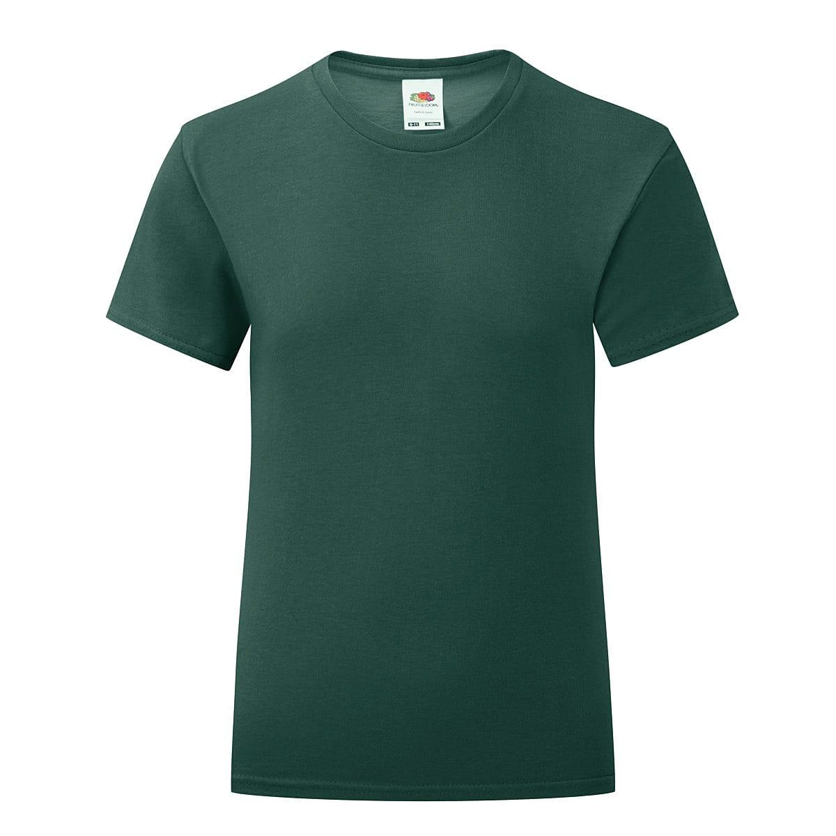 Fruit Of The Loom Girls Iconic T-Shirt in Forest Green (Product Code: 61025)