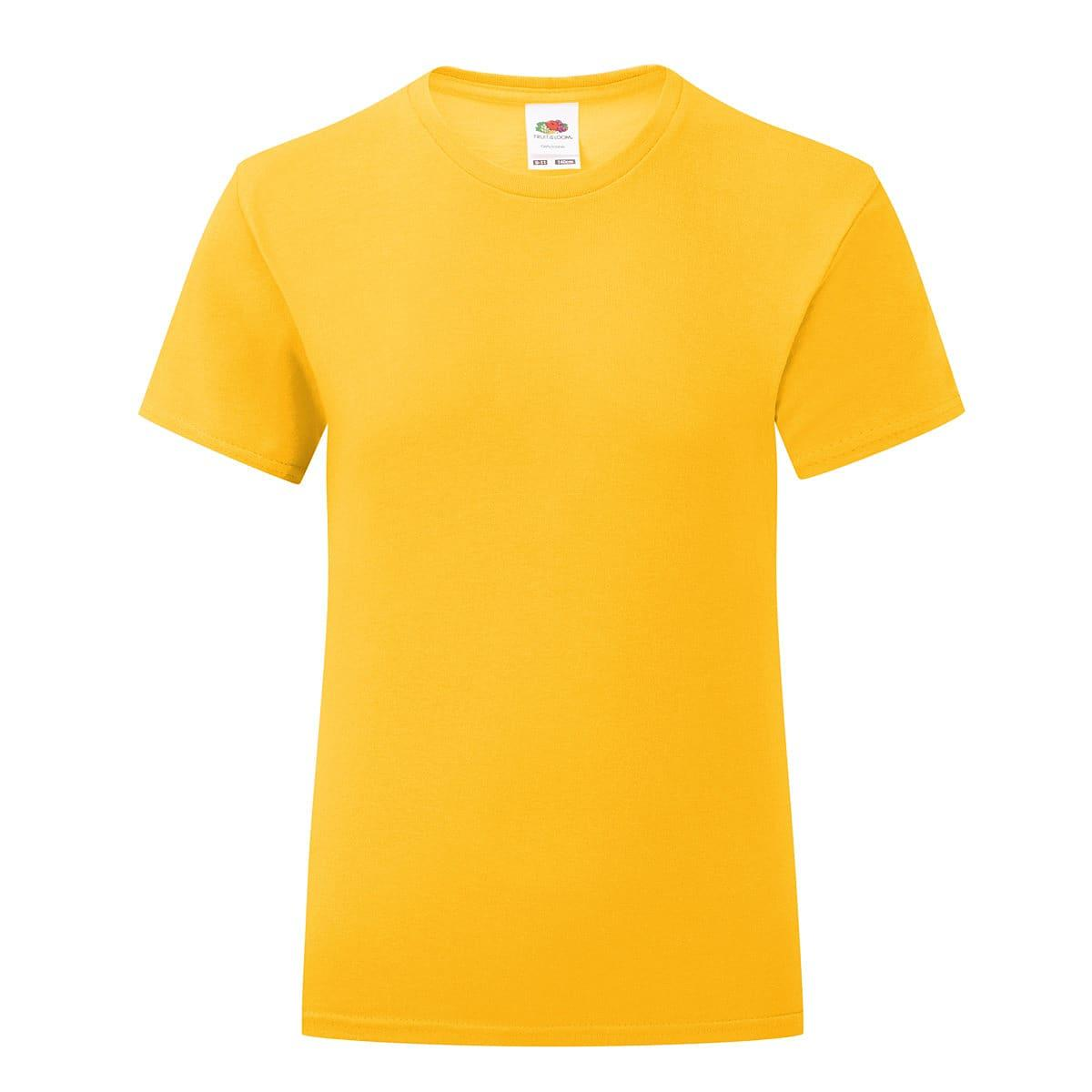 Fruit Of The Loom Girls Iconic T-Shirt in Sunflower (Product Code: 61025)