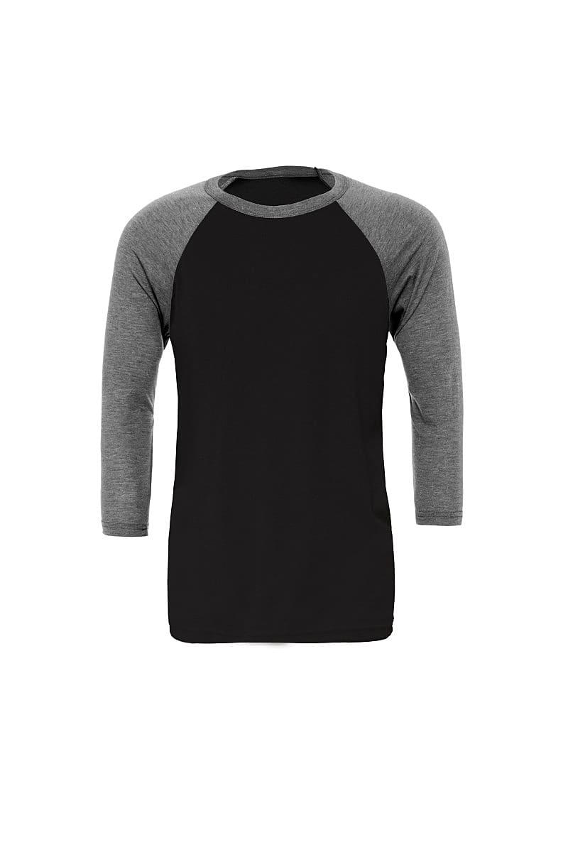Bella Canvas 3/4 Baseball T-Shirt in Black / Deep Heather Grey (Product Code: CA3200)