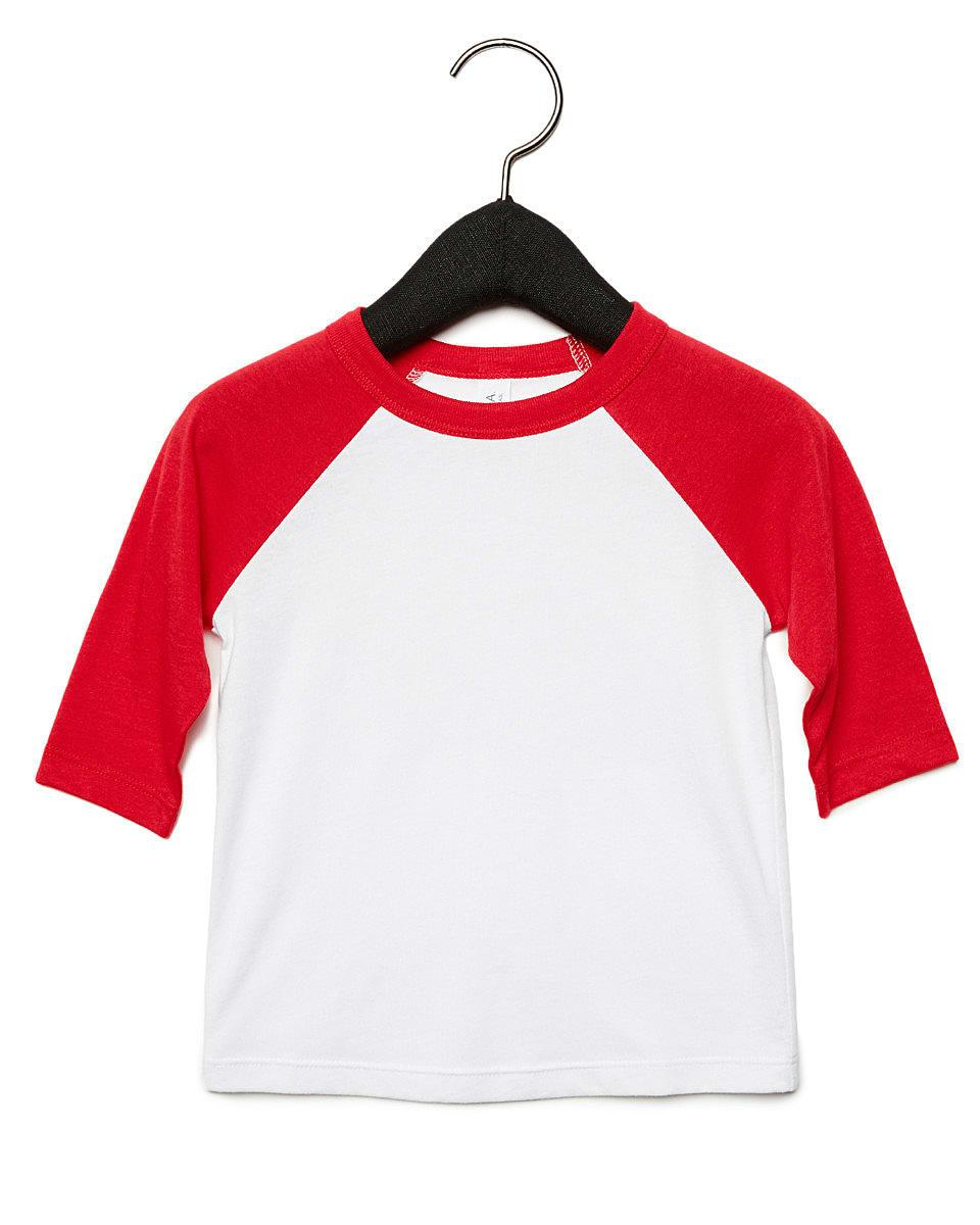 Bella Canvas Toddler 3/4 Baseball T-Shirt in White / Red (Product Code: CA3200T)
