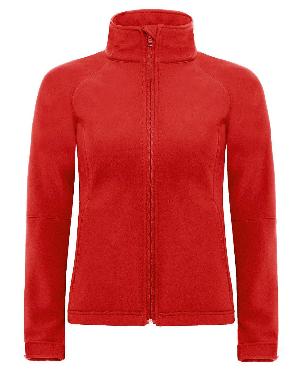 B&C Womens Hooded Softshell Jacket in Red (Product Code: JW937)