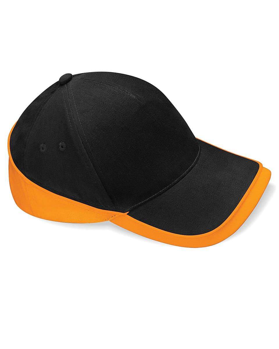 Beechfield Teamwear Competition Cap in Black / Orange (Product Code: B171)