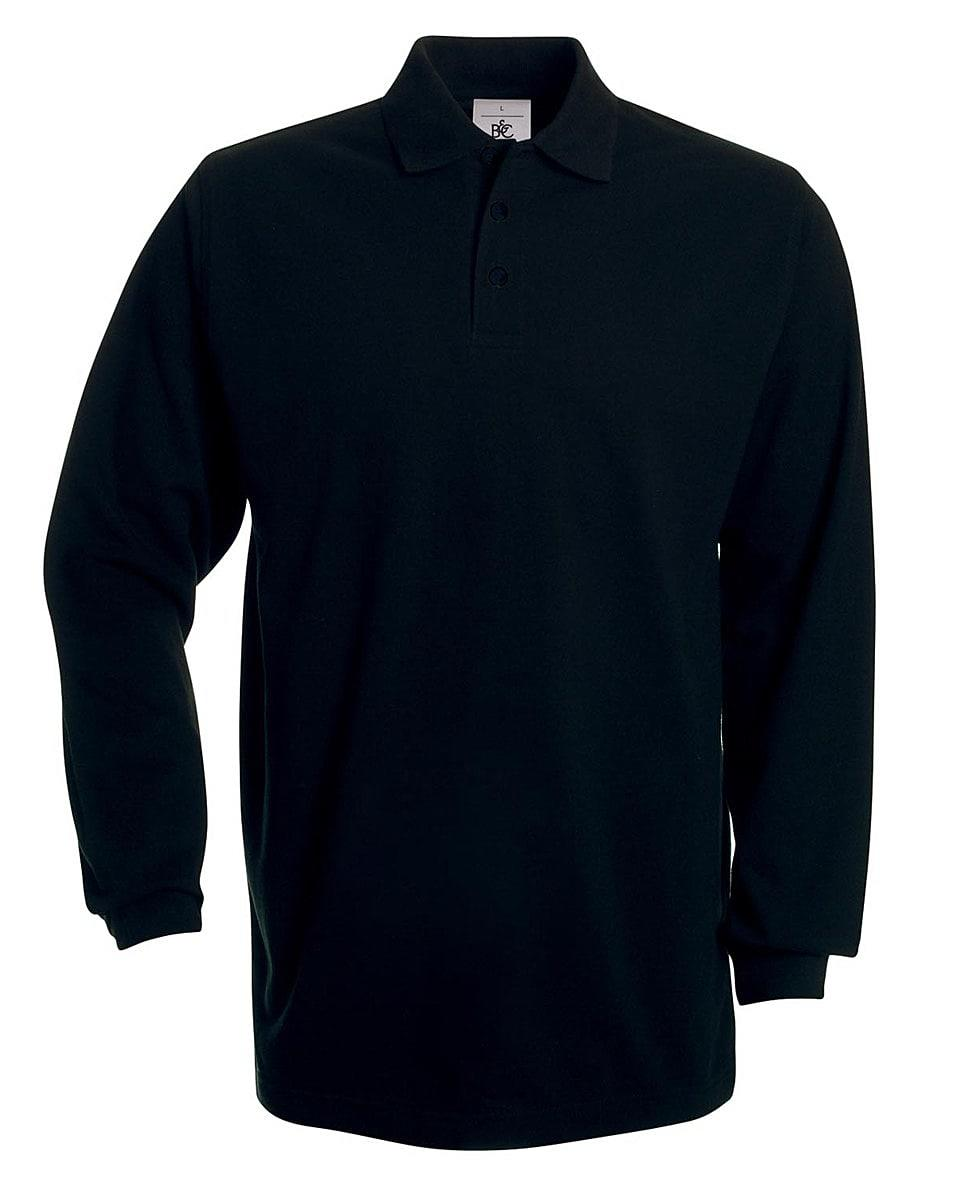 B&C Heavymill Long-Sleeve Polo Shirt in Black (Product Code: PU423)