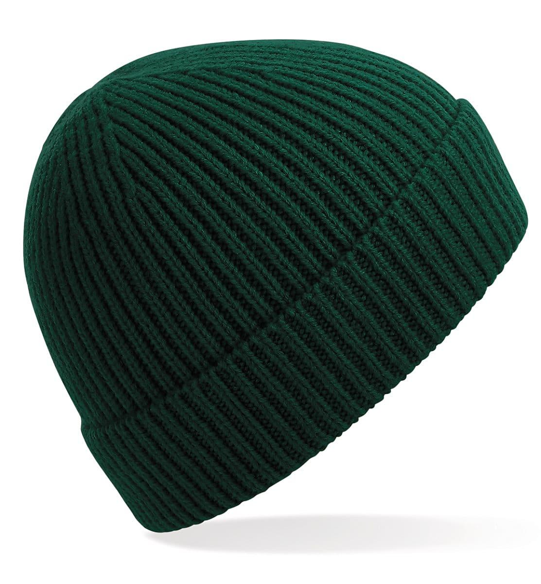 Beechfield Engineered Knit Ribbed Beanie Hat in Bottle Green (Product Code: B380)