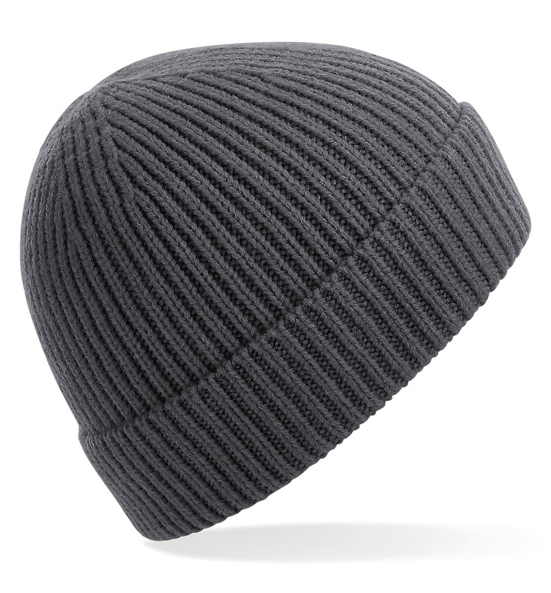 Beechfield Engineered Knit Ribbed Beanie Hat in Graphite (Product Code: B380)