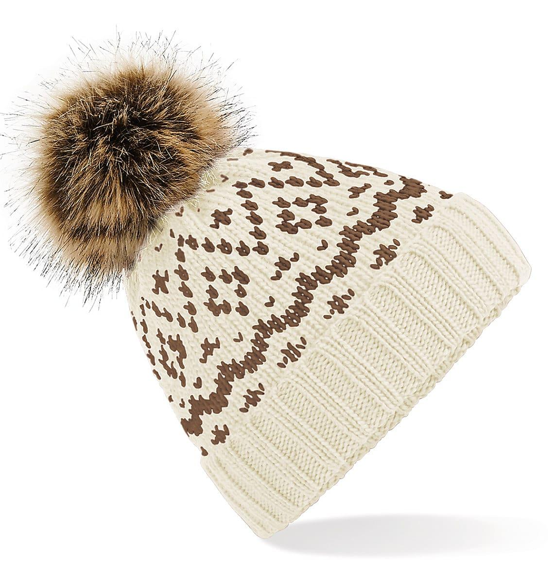 Beechfield Fair Isle Pop Pom Beanie Hat in Off-White / Mocha (Product Code: B411)