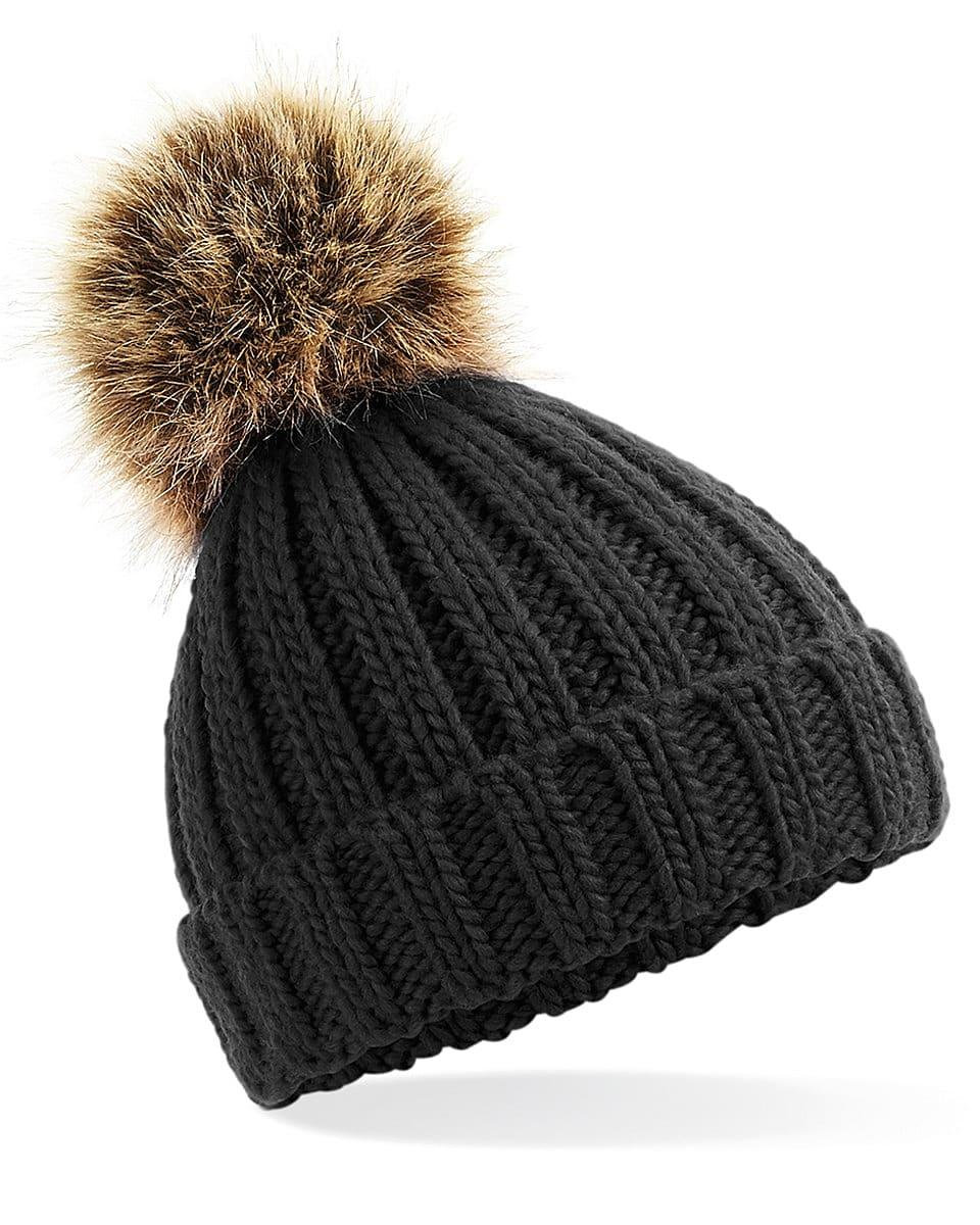 Beechfield Infant PomPom Chunky Beanie Hat in Black (Product Code: B412A)
