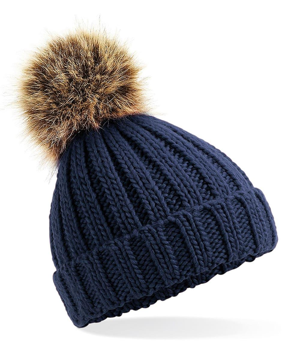 Beechfield Infant PomPom Chunky Beanie Hat in Navy Blue (Product Code: B412A)