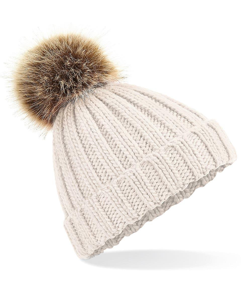 Beechfield Junior PomPom Chunky Beanie Hat in Oatmeal (Product Code: B412B)