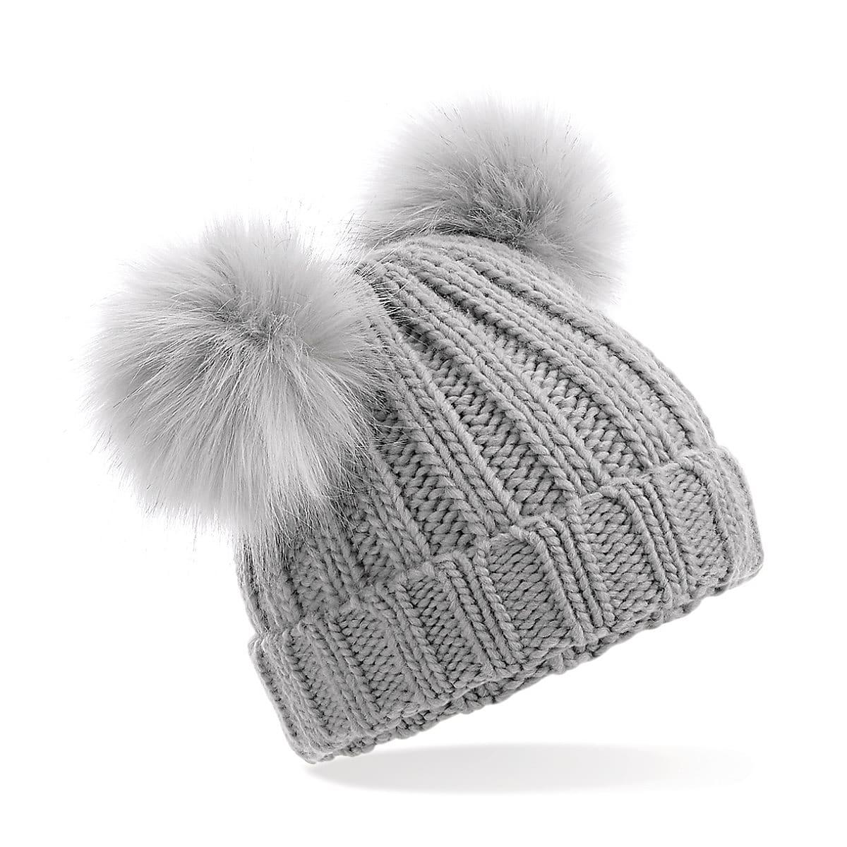 Beechfield Infant Double Pom Pom Beanie Hat in Light Grey (Product Code: B414A)