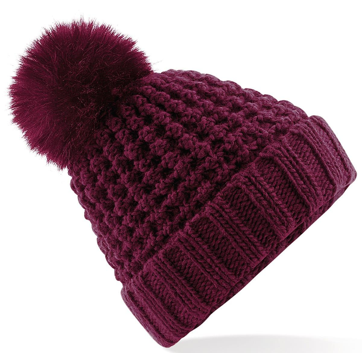 Beechfield Popcorn Fur Pop Pom Beanie Hat in Burgundy (Product Code: B415)