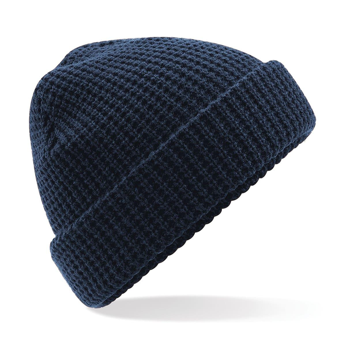 Beechfield Classic Waffle Knit Beanie Hat in French Navy (Product Code: B422)