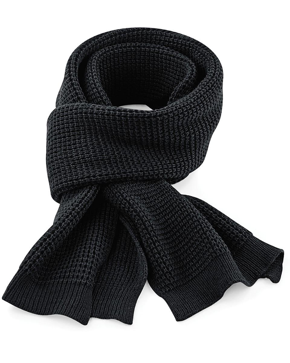 Beechfield Classic Waffle Knitt Scarf in Black (Product Code: B424)