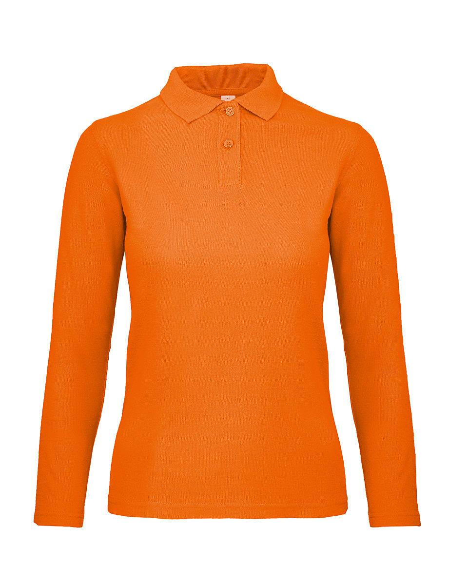 B&C Womens ID.001 Long-Sleeve Polo Shirt in Orange (Product Code: PWI13)