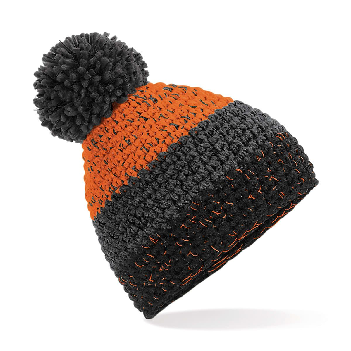 Beechfield Freestyle Beanie Hat in Orange / Graphite Grey / Black (Product Code: B436)