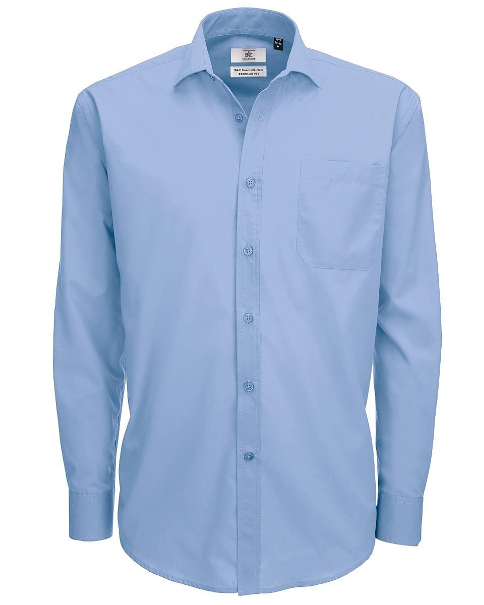 B&C Mens Smart Long-Sleeve Poplin Shirt in Business Blue (Product Code: SMP61)