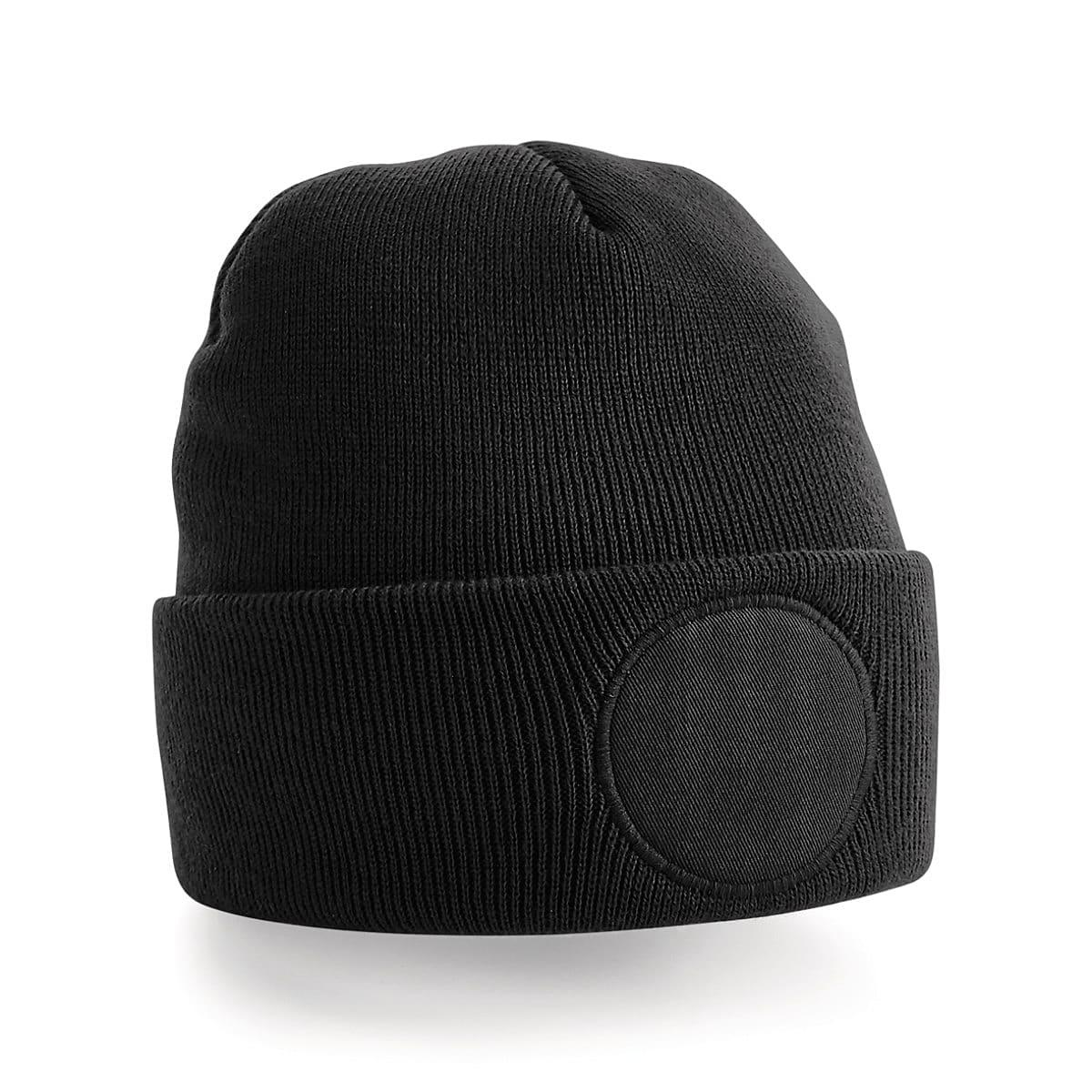 Beechfield Circular Patch Beanie Hat in Black (Product Code: B446)