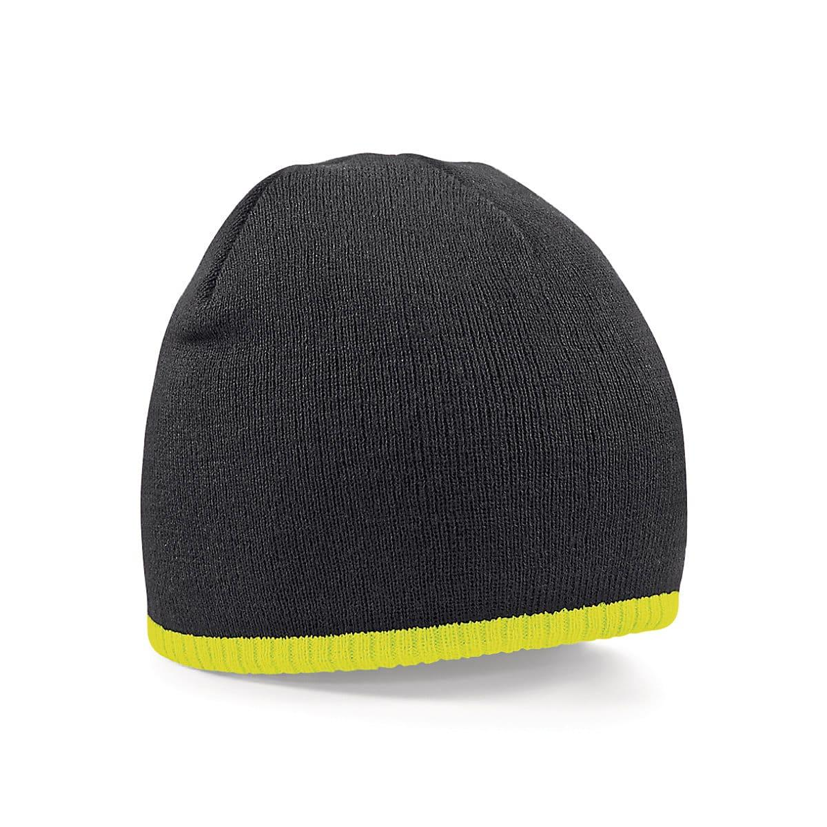 Beechfield Two-Tone Beanie Knitted Hat in Black / Fluorescent Yellow (Product Code: B44C)