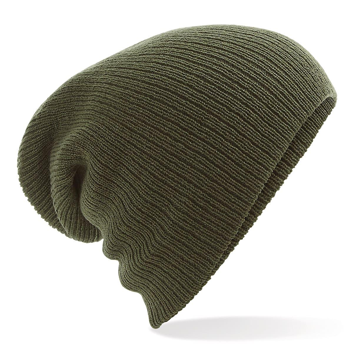 Beechfield Heavy Gauge Slouch Beanie Hat in Olive Green (Product Code: B449)