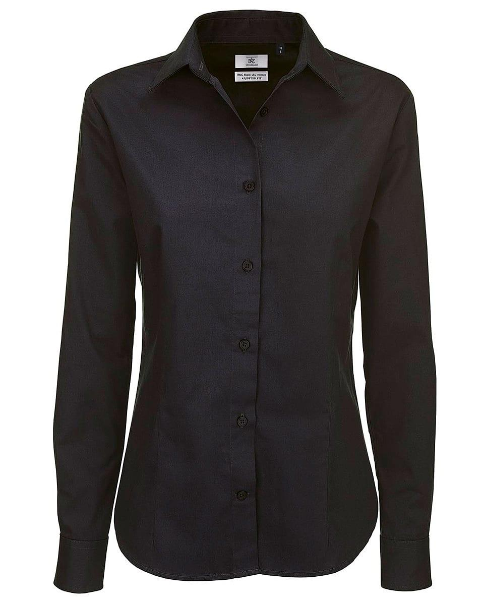 B&C Womens Sharp Twill Long-Sleeve Shirt in Black (Product Code: SWT83)
