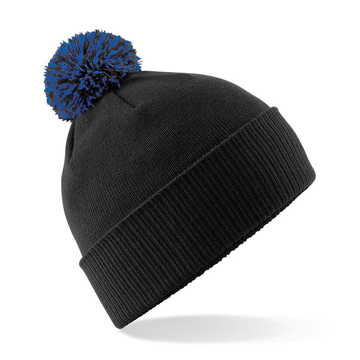Beechfield Snowstar Beanie Hat in Black / Bright Royal (Product Code: B450)