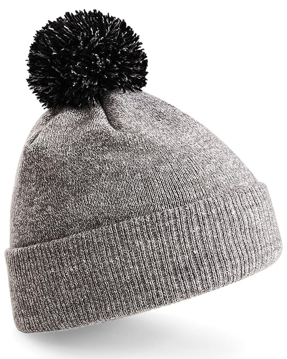 Beechfield Snowstar Beanie Hat in Heather Grey / Black (Product Code: B450)