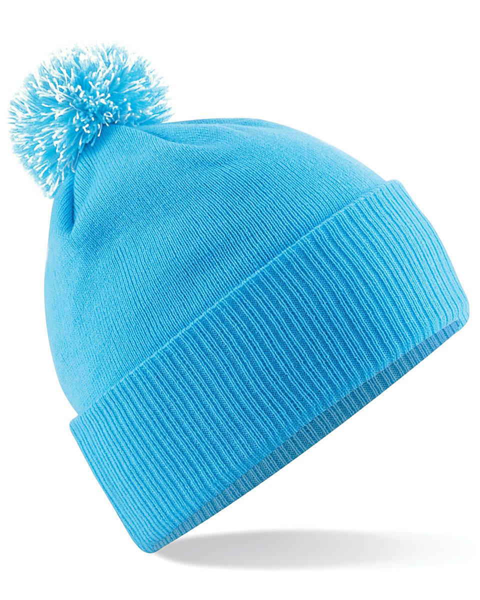 Beechfield Snowstar Beanie Hat in Surf Blue / Off-White (Product Code: B450)