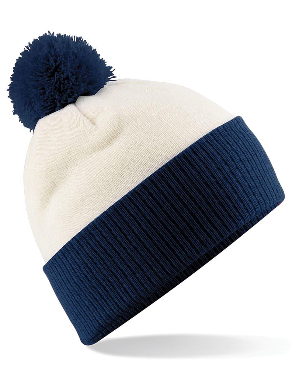Beechfield Snowstar Two-Tone Beanie Hat in Off-White / French Navy (Product Code: B451)