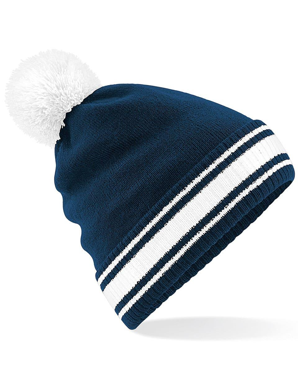 Beechfield Stadium Beanie Hat in French Navy / White (Product Code: B472)