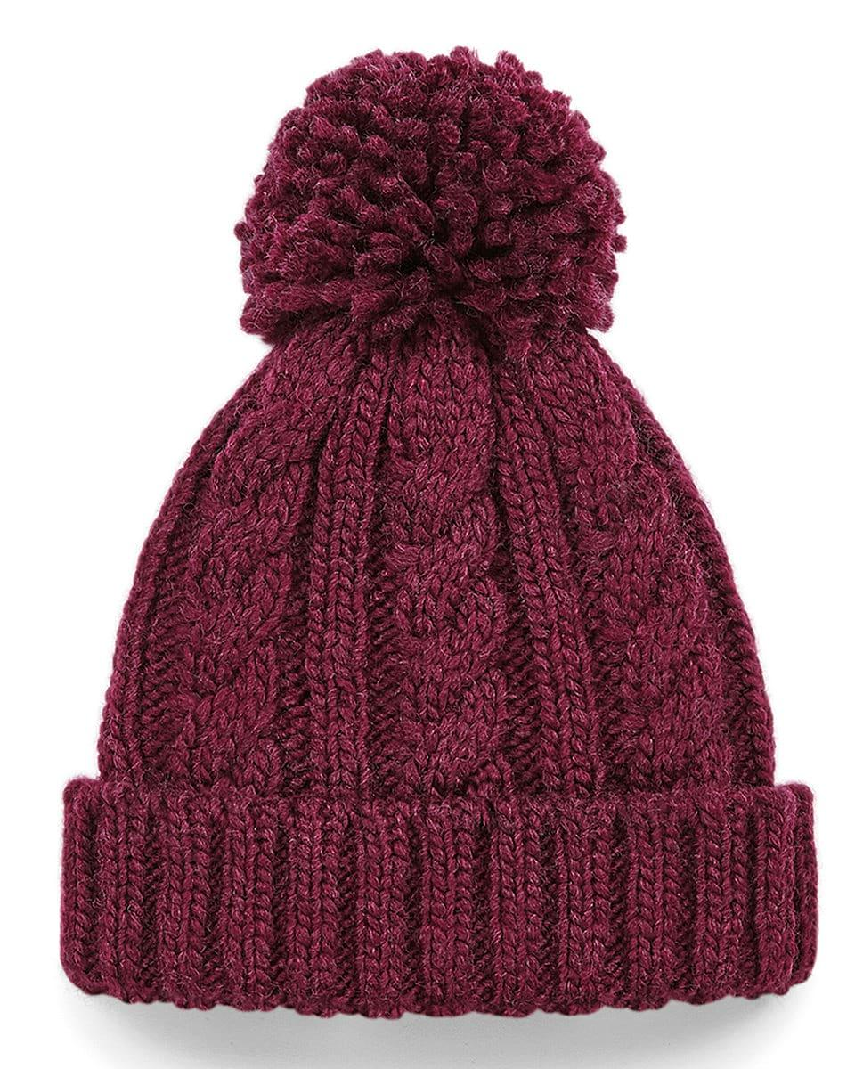 Beechfield Jr Cable Knit Melange Beanie Hat in Burgundy (Product Code: B480B)