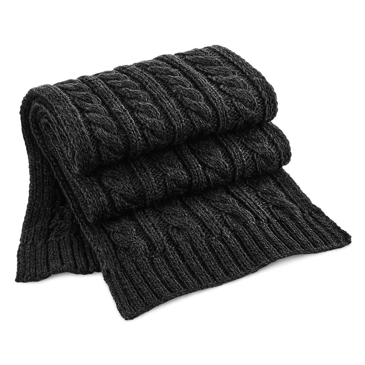 Beechfield Cable Knit Melange Scarf in Black (Product Code: B499)