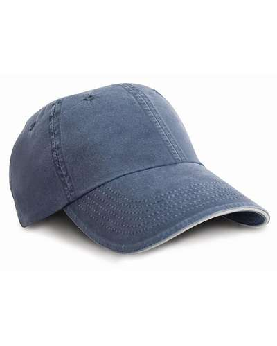 Result Headwear Washed Fine Line Cotton Cap with Sandwich Peak