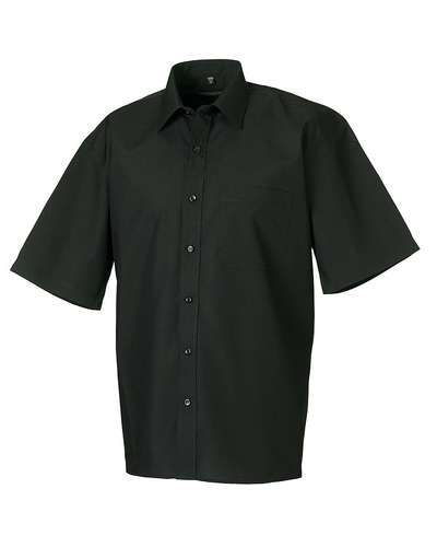 Russell Collection Mens Short-Sleeve Polycotton Easy Care Poplin Shirt