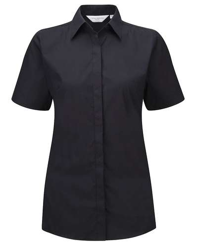 Russell Collection Womens Short-Sleeve Stretch Shir