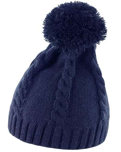 Result Winter Cable Knit Pom Pom Beanie Hat
