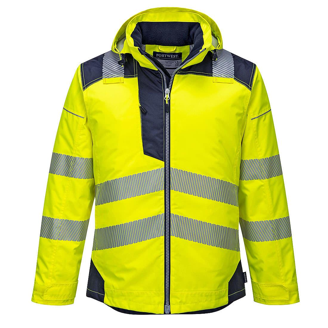 Portwest PW3 Hi-Viz Winter Jacket in Yellow / Navy (Product Code: T400)