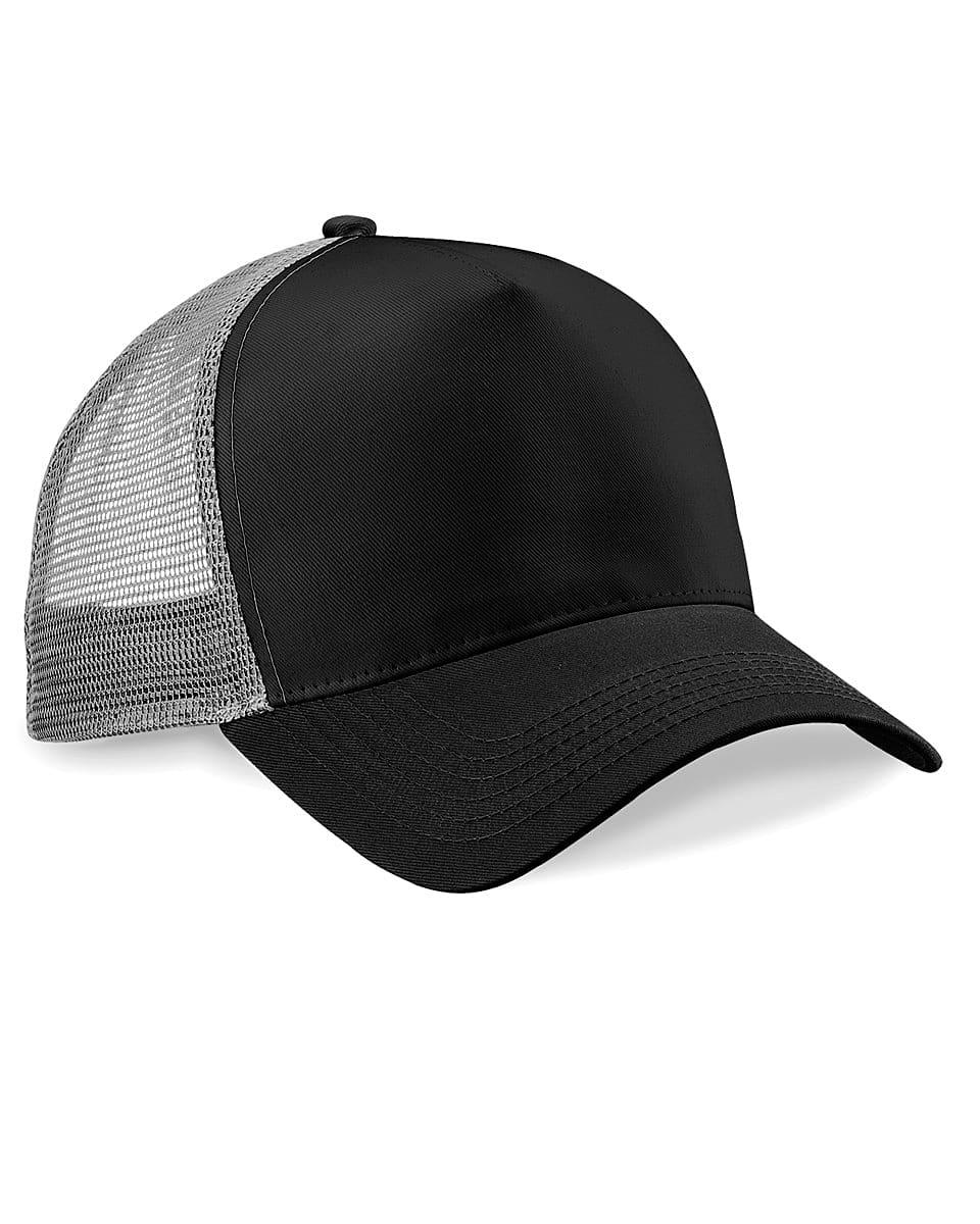 Beechfield Snapback Trucker Cap in Black / Light Grey (Product Code: B640)
