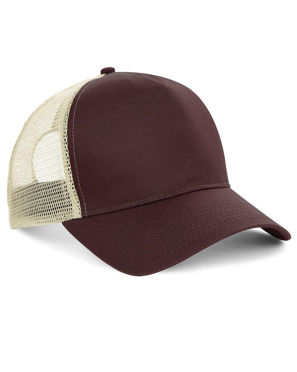Beechfield Snapback Trucker Cap in Chocolate / Caramel (Product Code: B640)
