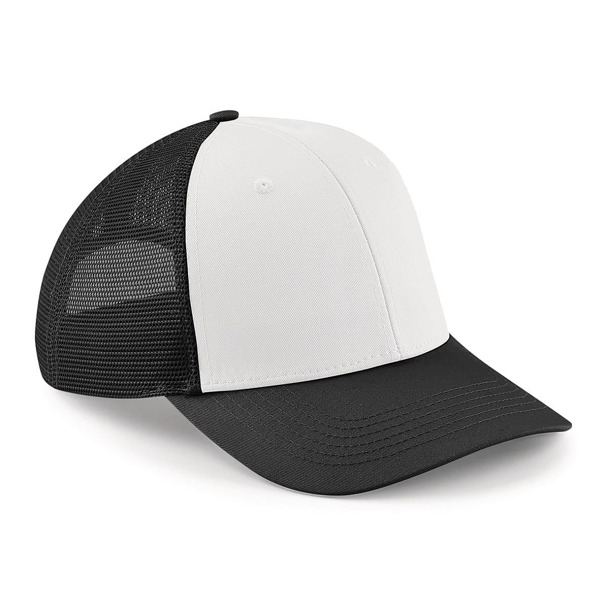 Beechfield 6 Panel Snapback Trucker Cap in Black / White (Product Code: B647)