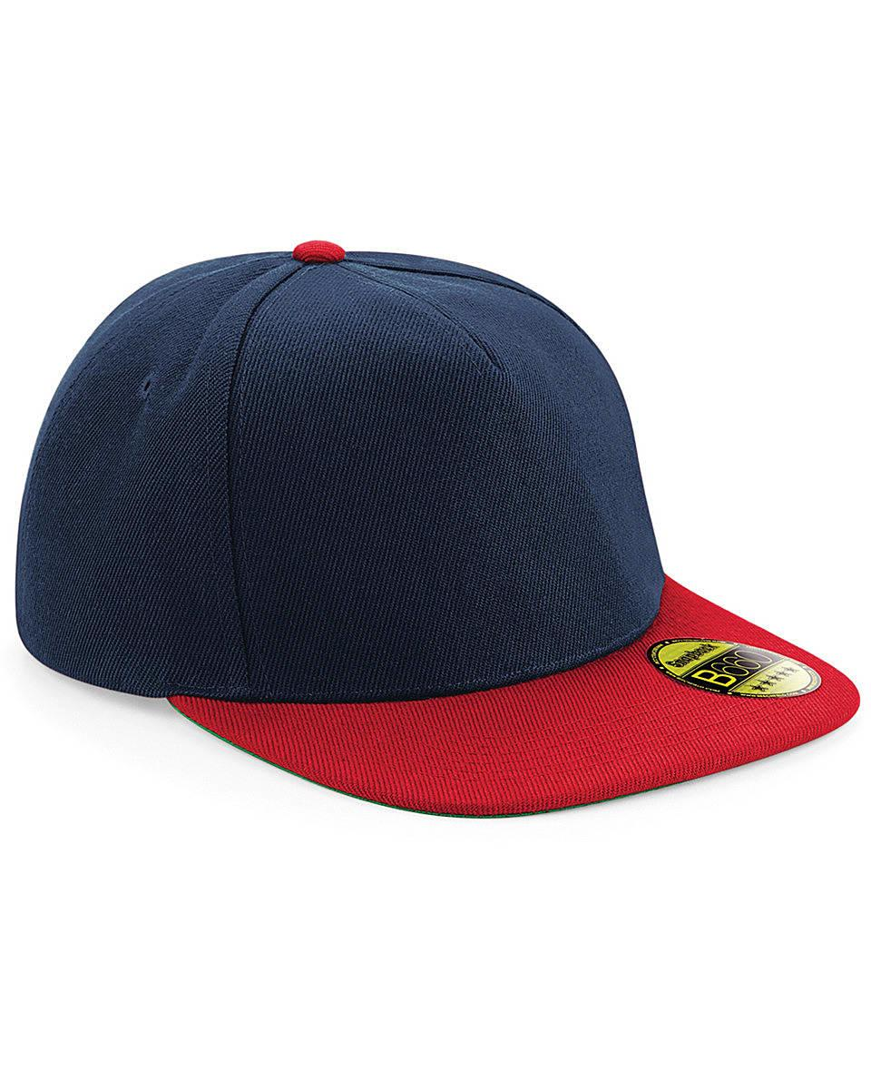 Beechfield Original Flat Peak Snapback in French Navy / Classic Red (Product Code: B660)