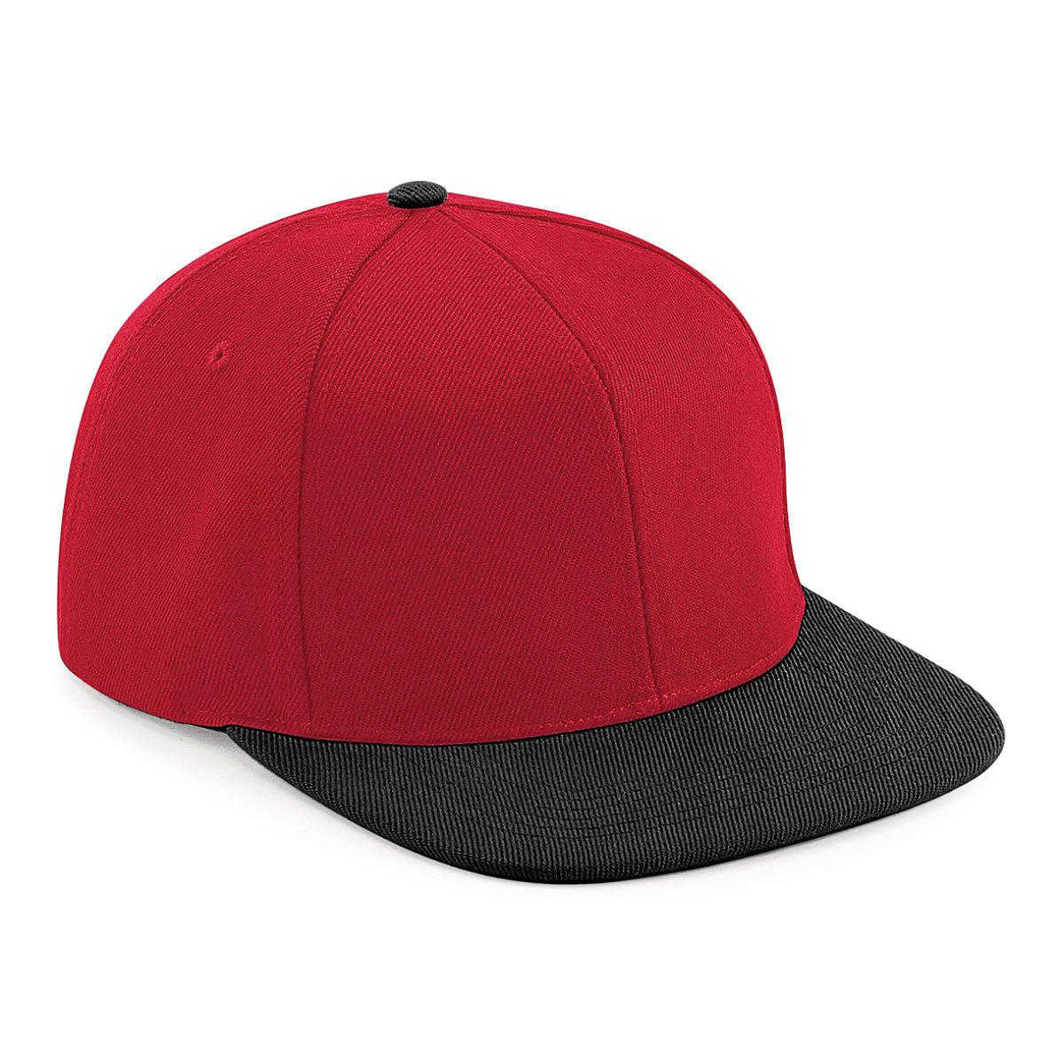 Original Flat Peak 6 Panel Snapback Cap in Classic Red / Black (Product Code: B661)