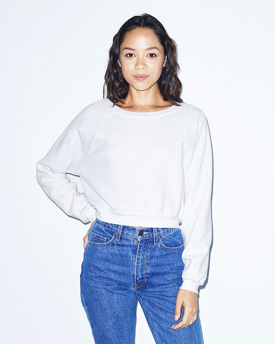 American Apparel Womens Crop Pullover in White (Product Code: RSAF3451W)