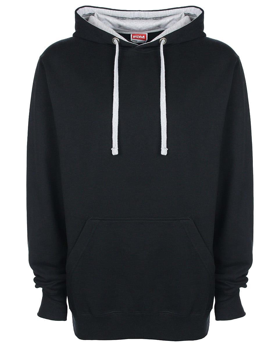FDM Unisex Contrast Hoodie in Black / Heather Grey (Product Code: FH002)