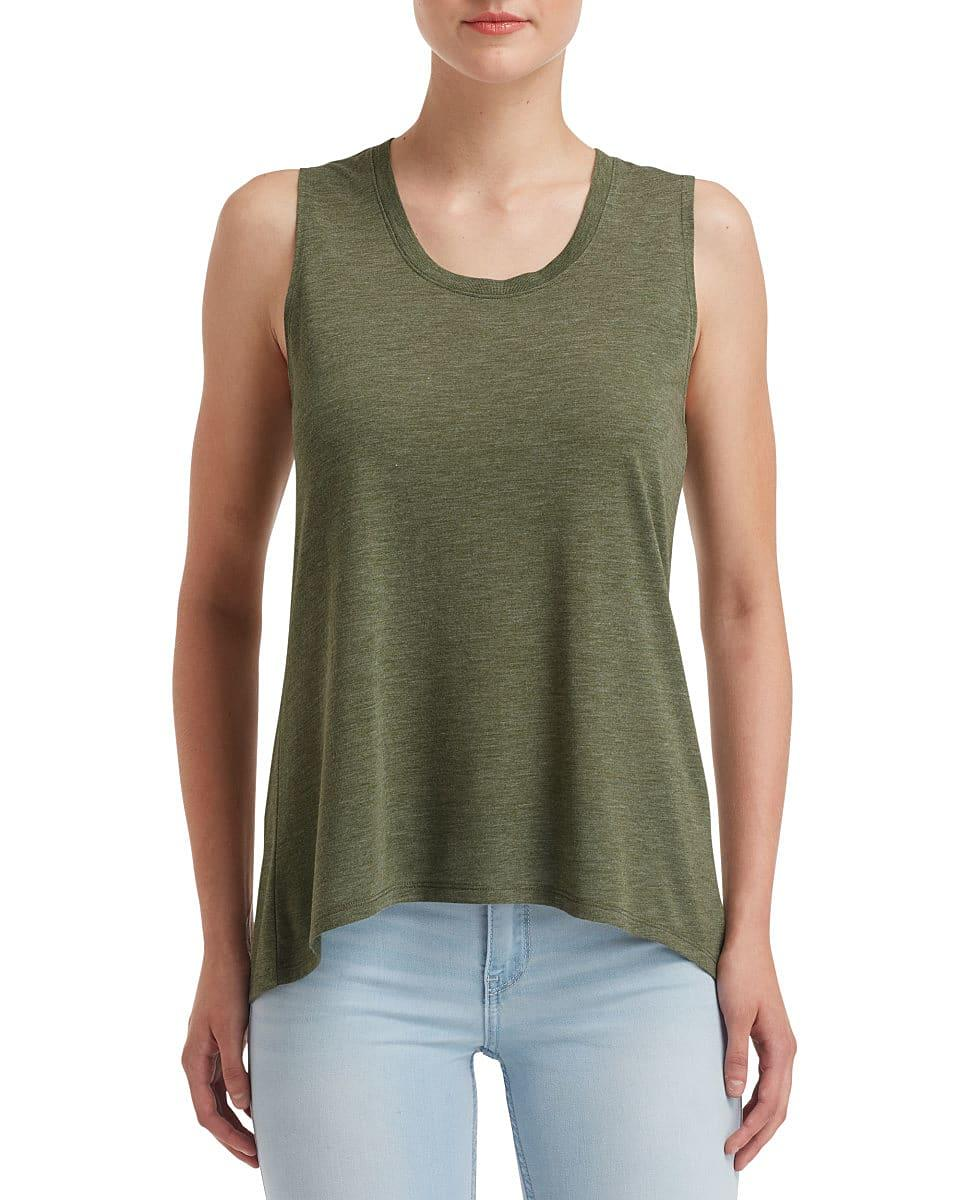 Anvil Womens Freedom Sleeveless T-Shirt in Heather City Green (Product Code: 37PVL)